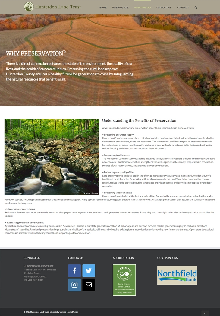 Hunterdon Land Trust website by Gattuso Media Design
